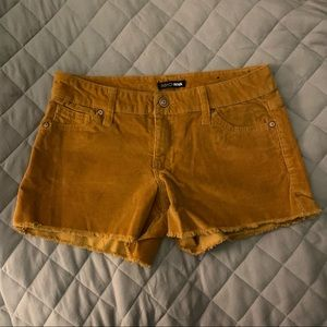 low rise cord shorts